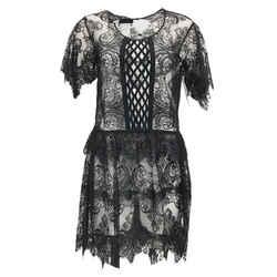 Burberry Prorsum Black Sheer Metallic Lace Cocktail Dress