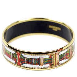 Auth Hermes Gold Printed Enamel Bracelet Bangle