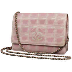 Chanel Pink New Line Wallet on Chain Woc Crossbody Chain Flap bag 227857