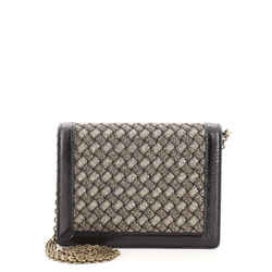 Flap Wallet on Chain Intrecciato Knitted Lurex with Snakeskin Small
