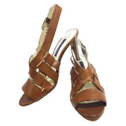 RALPH LAUREN Collection Brown Leather Open Toe Slingback Sandals with 3 Inch Heel