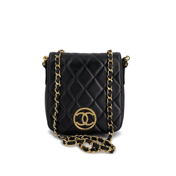 Chanel Vintage Black Circle CC Logo Vertical Mini Flap Bag 24k GHW