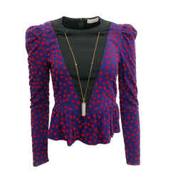 Altuzarra Peplum Purple/Red Top