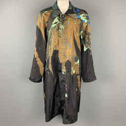 DRIES VAN NOTEN F/W 18 Size L Black & Brown Dyed Polyamide Hidden Zip Up Coat