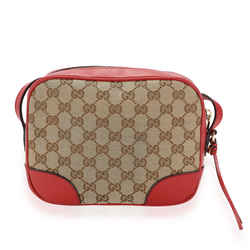 Gucci Brown GG Canvas & Red Leather Mini Bree Messenger Bag