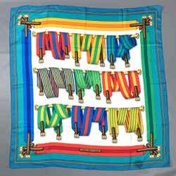 Vintage HERMES Belt print 1985 by Joachim Met Multi-Color Silk Scarf