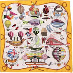 HERMES Folies du Ciel Vintage Silk Scarf One2One Collaboration