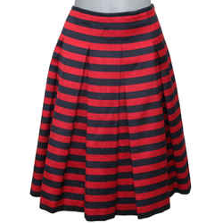 MICHAEL KORS Skirt Striped A-Line Navy Red Wool Silk Sz 6 MADE IN ITALY