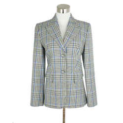 Michael Kors Grey Blue Black Plaid Wool Jacket Sz. 2