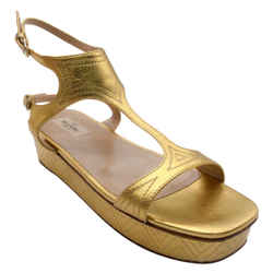 Valentino Gold Metallic Leather Platform Wedge T-Strap Sandals
