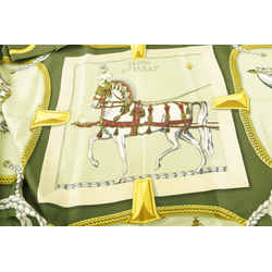 Hermes Green Grand Apparat Silk Scarf 733her324