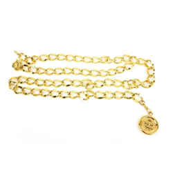"""Chanel: Gold, Metal Chain """"cc"""" Medallion Belt - Adjustable: Fits Up To 35"""" (mz)"""