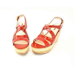 Prada: Red, Patent Leather & Logo Cork Wedge Sandals/heels Sz: 8.5m