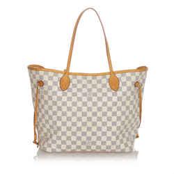 Vintage Authentic Louis Vuitton White Damier Azur Neverfull MM France