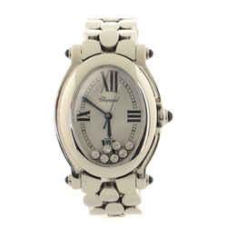 Happy Sport Oval Quartz Watch Stainless Steel with Floating Diamonds 30
