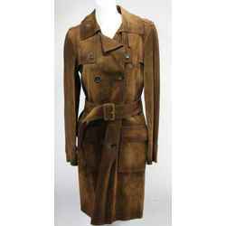 Gucci Women's Suede Belted Trench Coats - Brown