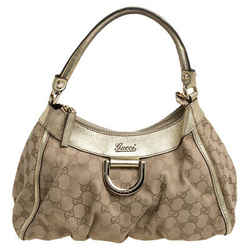Gucci Beige/Gold GG Canvas and Leather Small D Ring Hobo