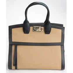 Salvatore Ferragamo Studio Bag - Tan/Black