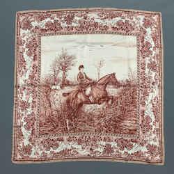 Vintage RALPH LAUREN Collection Pink & White Equestrian Silk Scarf