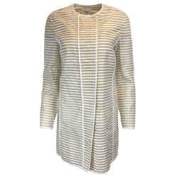 Akris Punto Beige Sheer Silk & White Cotton Striped Coat