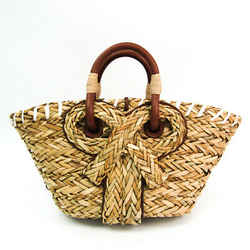 Anya Hindmarch SMALL BASKET BOW Women's Leather,Straw Handbag Beige,Bro BF521334