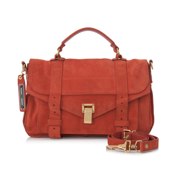 Vintage Authentic Proenza Schouler Orange Suede Leather Medium PS1 Satchel Italy