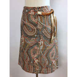 SCHUMACHER Taupe/Multicolor Paisley-Print Cotton-Blend Skirt with Beaded Accent Size: M