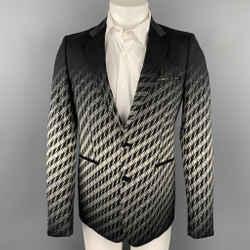 JUST CAVALLI Size 38 Black & White Houndstooth Cotton Blend Notch Lapel Sport Coat