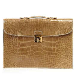 Hermes Briefcase Men's Unisex Quirus Portfolio Ficelle Alligator Gold