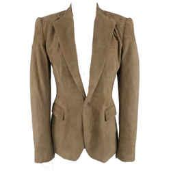 Ralph Lauren Size 4 Taupe Suede Single Button Blazer