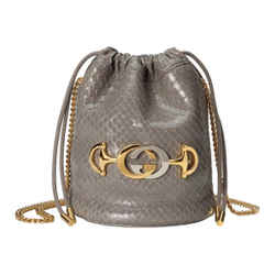 Gucci Zumi Dusty Grey Snakeskin Drawstring Crossbody Bucket Bag 576432