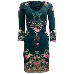 Roberto Cavalli Teal Multi Long Sleeved Print Formal Dress
