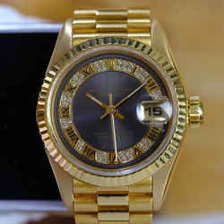Rolex Ladies Datejust Factory Dial 18K Gold Fluted-ALL FACTORY