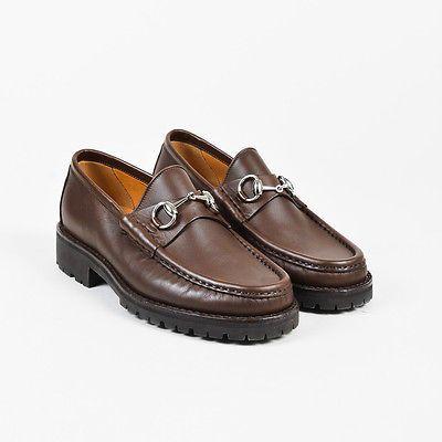 MENS Gucci $550 Brown Leather Horsebit