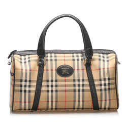 Vintage Authentic Burberry Haymarket Check Canvas Boston Bag