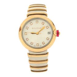LVCEA Automatic Watch Stainless Steel and Rose Gold with Diamond Markers and Mother of Pearl 33