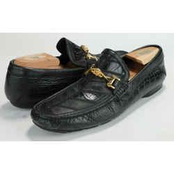 Versace Black Croc Embossed Leather Medusa Loafers