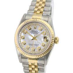 Rolex Datejust Midsize White MOP Diamond Dial Fluted Bezel 31mm Watch