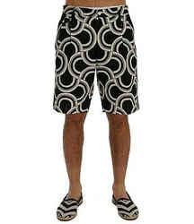 Dolce & Gabbana Black White Pattern Linen Men's Shorts