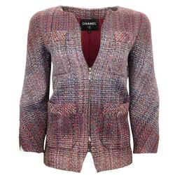 Chanel Multicolor Tweed Zip Up Blazer