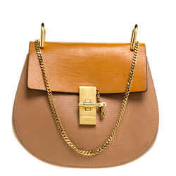 Chloe Beige/Mustard Leather Medium Drew Shoulder Bag