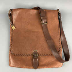 John Varvatos Brown Leather Whipstitch Messenger Bag