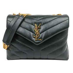 Saint Laurent Green Leather Small LouLou Shoulder Bag
