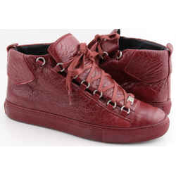 Balenciaga Arena Creased Red Leather Sneakers