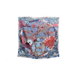 Authentic Hermes Silk Scarf Ex-Libris en Kimonos Blue Anamorphee 90cm Carre
