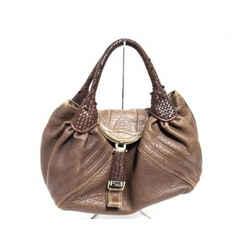 Fendi Large Brown Leather Spy Hobo Woven Handle 239788