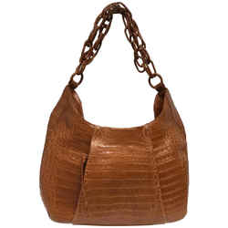 "Nancy Gonzalez Matte Large Cognac Crocodile Skin Leather Hobo Bag 16""L x 16""W x 5""H Item #: 20977037"