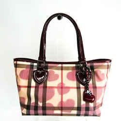 Burberry Heart Women's Coated Canvas,Patent Leather Handbag Beige,Borde BF513121