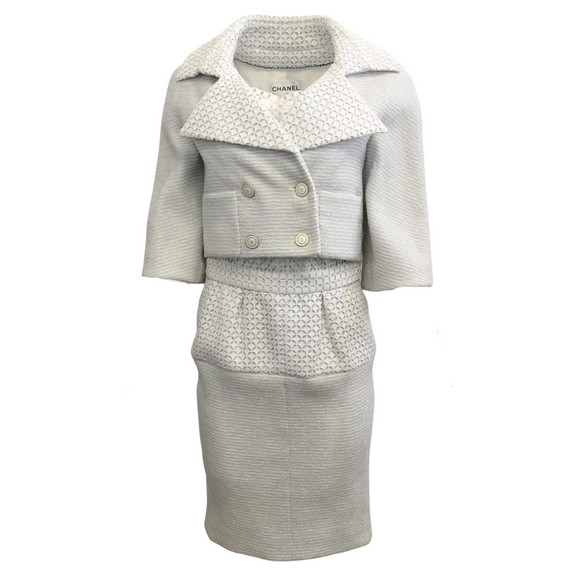 Chanel Grey and White Eyelet Dress with Jacket