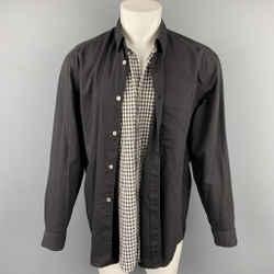COMME des GARCONS Size M Black & White Mixed Fabrics Button Up Long Sleeve Shirt